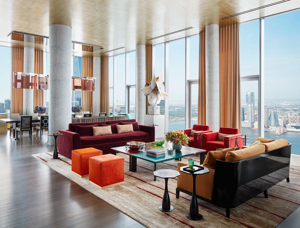 nowoczesny penthouse z jadalnią i salonem, z widokiem na Manhattan i rzekę Hudson | styl nowojorski w Imperium Wnętrz Kokotów 922