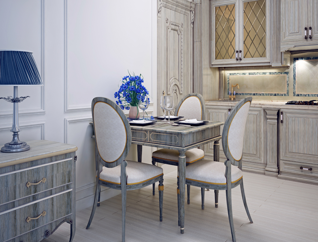 Kuchnia z jadalnią w stylu Art Deco   Wykończenia pod klucz w Imperium Wnętrz Kokotów 922