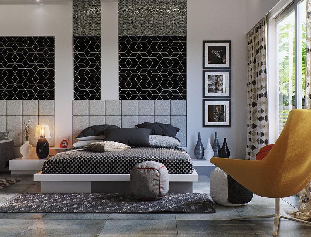 Wykończenie sypialni w hexagonach | Imperium Wnętrz Kokotów 922