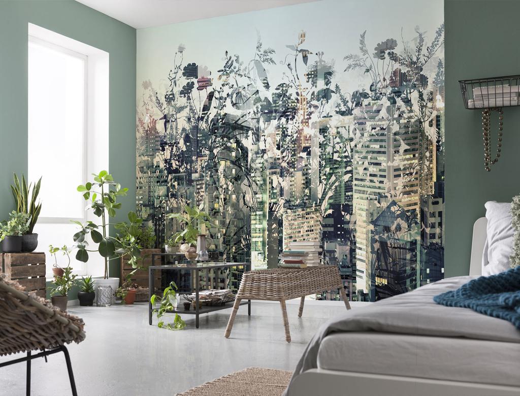 roślinność i zielone kolory we wnętrzach