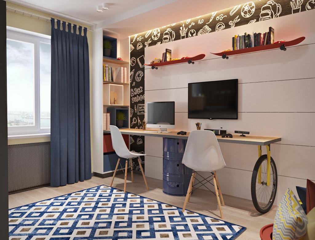 turnkey finishing playroom for boys - desk and corner bookshelf