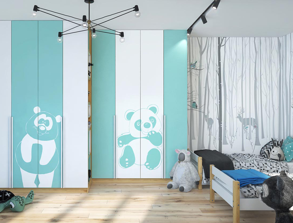 turnkey finishing playroom for girls - wardrobes and beds