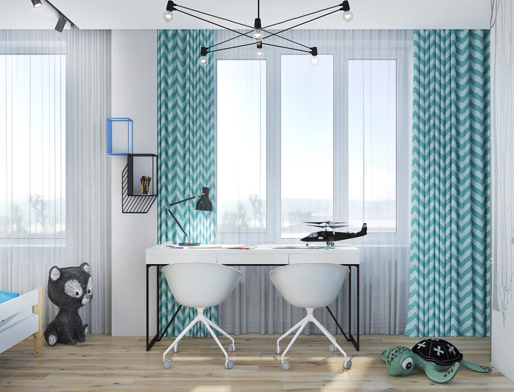 turnkey finishing playroom for girls - desk at the window