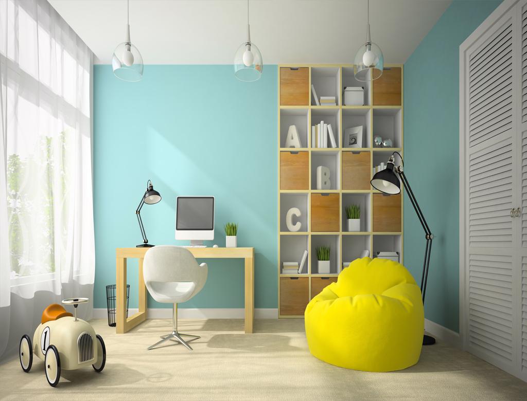 turnkey finishing - playroom with safety desk, bookshelf and toys
